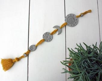 Bohemian art - boho decor - bohemian interior - wall art - wall hanger - clay wall decor - grey ochre yellow woven - tapestry - ethnic art