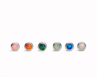 Nose Stud Nostril Ala nose Piercing Fishtail Earring Sterling Silver Blue Opal Screw Stud Body Jewelry Bohemian Indian Style - NSE014