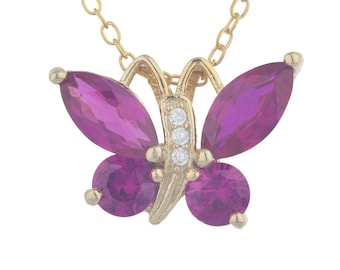 14Kt Yellow Gold Plated Ruby Butterfly Pendant