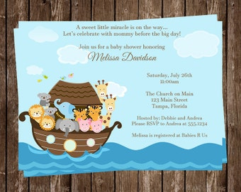 Noah's Ark Baby Shower Invitation, Miracle, Religious, Gender Neutral, Twin, Lion, Two by Two, Elephant, 10 Printed Invites, Free Ship, NARK
