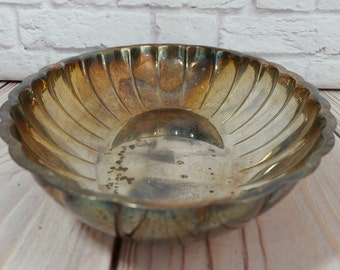 Vintage Oval Scalloped Silver Plated Tray Bowl WMA Rogers