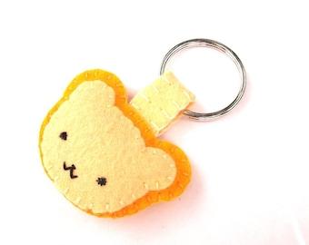 Cute golden bear keychain, yellow bear key ring, kawaii bear gift, yellow teddybear, ginger bear, plush bear cub