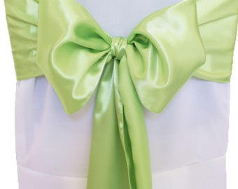 """7""""X108"""" Lime Green Satin Sashes Chair Cover Bow Sash WIDER FULLER BOWS Wedding Party"""