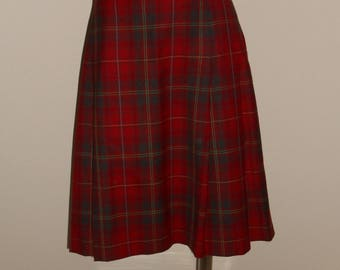 Vintage Pendleton Skirt 10P Red Plaid Pleated A Line Wool Made in USA Petite