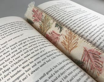 Stamped Fabric Bookmark (Leaves)