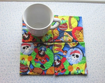 SALE  was 10 NOW 6 ahoy matey!  pirates skulls man cave hand quilted set of mug rugs coasters