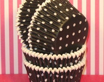 Black & White Heavy Duty Polka Dot Designer Cupcake Liners  (32)  Black Polka Dot Cupcake Liners, Black Polka Dot Baking Cups, Cupcake Liner