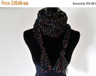 ON SALE Boho Scarf - Scarf, Tassels, Crochet Scarf, Bulky Scarf, Chunky Scarf, Winter Scarf, Casual Scarf, Ladies Scarf, Girls Scarf, Triang