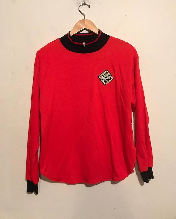 80s Bright Red Crest Sweatshirt