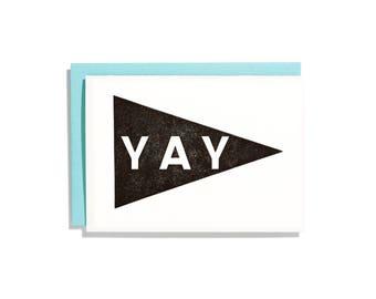 Yay Pennant Black - Letterpress Congratulations Card - CC074