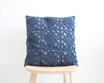 Denim blue crochet pillowcase