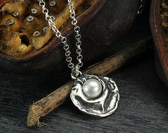 Silver Pearl Pendant, Unique Pearl Necklace, Bridal, Wedding Jewelry, Bridesmaid Gift, 925 Sterling Silver, June Birthstone Y174
