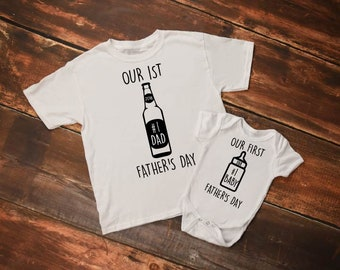 Our First Father's Day Matching Set, First Father's Day Gift, New Baby Gift, Father's Day Gift, Matching Shirts, Matching Set, Dad Gift