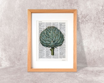 Artichoke print-Kitchen wall art-Artichoke on book page-Artichoke dictionary print-Artichoke poster-kitchen print set-NATURA PICTA DP004