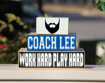 Teacher Sign Beard Coach Back to School Custom Personalized  -Trio Wood Blocks Stack - Classroom Decor/Gift - Wooden Blocks