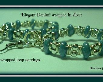 Elegant Denim-Beadsnoops(C) wrapped in silver-wire wrapped loop earrings