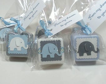 Baby shower favors for boys, elephant themed soaps