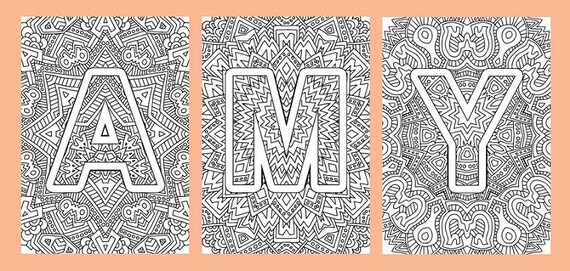 Alphabet Adult Coloring Pages Instant