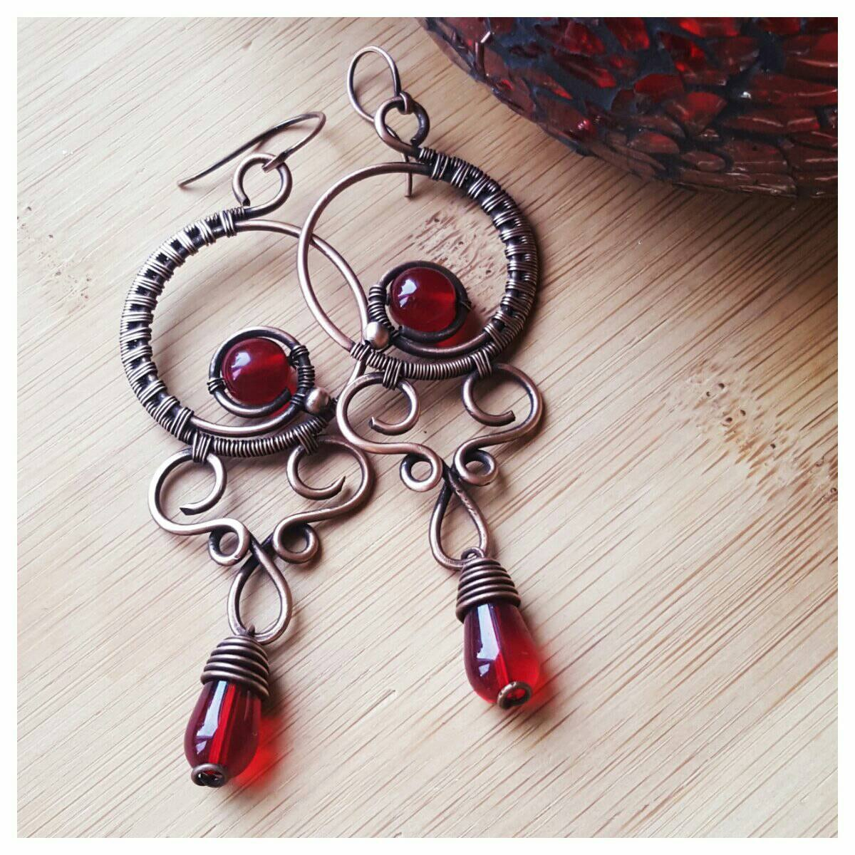 Deep red chandelier earrings wire wrapped crystal earrings red description the listing is for one red chandelier earrings with czech crystals arubaitofo Choice Image