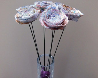Map Paper Flowers with Stems, Set of 12, Travel Theme Decoration Centerpiece Bouquet Anniversary Gift