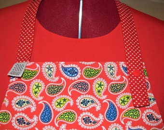 Red and white reversible apron with heart adult