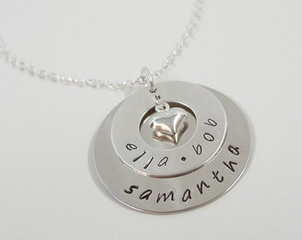 Hand Stamped Personalized Necklace - Keepsake Jewelry - Mommy Necklace - Sterling Silver Layered Disc Necklace