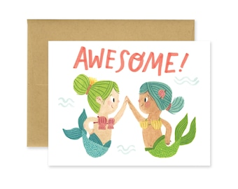 Awesome! Mermaids Illustrated Greeting Card • Cute Stationery • Encouragement • Way to Go • Watercolor •