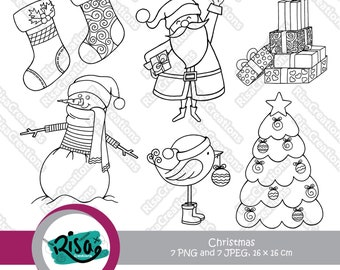 Christmas Digital Stamps, Clipart Christmas, Christmas Clipart, Christmas Coloring Page, Christmas Coloring Pages, Scrapbooking, Line Art