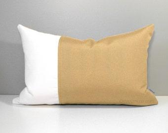 Gold & White Sunbrella Outdoor Pillow Cover, Modern Color Block Pillow Cover, Decorative Pillow Case, Honey Wheat Sunbrella Cushion Cover