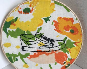Sneaker Embroidered Wall Art