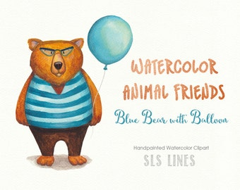 Cute teddy bear watercolor clipart, brown bear with balloon illustration, nursery graphics, shower clipart, animal clip art