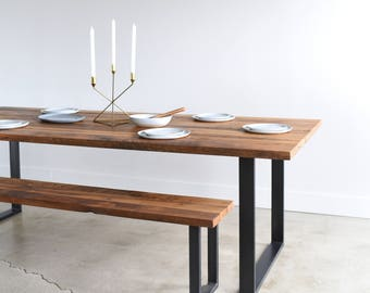 Modern dining table etsy industrial modern kitchen table u shaped metal legs made from reclaimed wood workwithnaturefo