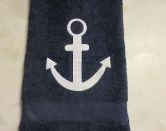 Anchor hand towel