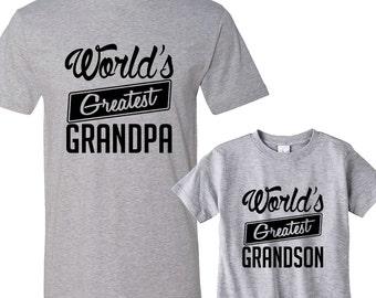 World's Greatest Grandpa - World's Greatest Grandson Heather Matching Shirts
