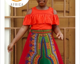 Dashiki Skirt / African Print Girls Skirt  / Toddler Skirt /  Ankara Girls Skirt