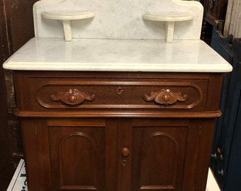 Antique Victorian Wash Stand Marble top Cherry or walnut 30w16d29h41h two soap holders Shipping is not free