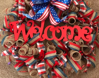 patriotic wreath red white and blue