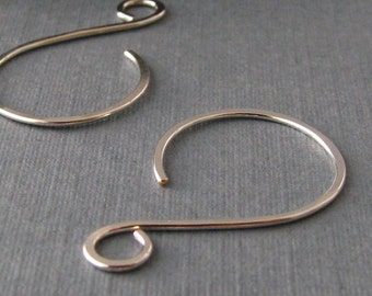 Hammered Ear Wires, Silver Filled Swinger Hoops, Handmade Earwire Findings, 3 pair