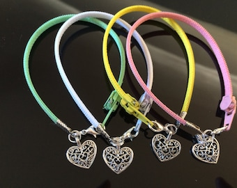 Zipper Bracelet - Love Heart Charm