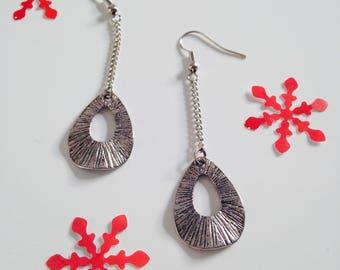 Earrings, dangling, drop, silver metal, stainless steel, woman