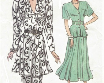 1980s Womens Dolman Sleeve Peplum Tops and Pencil or Flared Skirts Vogue Sewing Pattern 9834 Size 8 10 12 Bust 31 1/2 to 34 UnCut