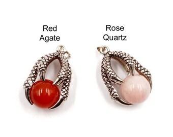 1 Antike Silber Edelstein Perlen In Krallen Anhänger/Charm-21-41-7