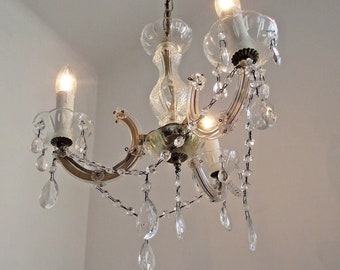 Paris Chic Style Vintage Crystal and Glass 3 Arm Chandelier