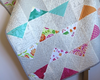 Baby quilt, modern geometric baby quilt, triangles quilt, play mat, pink blue green orange