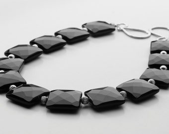 Square Black Obsidian Stone Gold Fluted Beads Necklace, The Ebony Omega