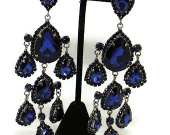 Dazzling Sapphire Blue Rhinestone Chandelier Style Earrings Vintage 1980 Statement Earrings Bridal Earrings Rhinestone Jewelry Diva Earrings