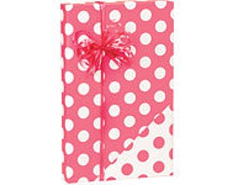 Coral Rose Pink and White Polka Dot  Gift Wrap Wrapping Paper-18ft Roll w. 20Gift Tags