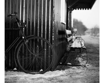 Bicycle, Mid-Suffolk Light Railway, Signed Art Print / Black And White Railway Photography / Train Station Photo