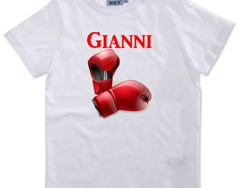 T-shirt boy boxing gloves personalized with name