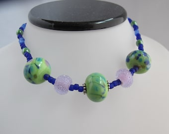 Green, Navy, and Purple Lampwork Bead Choker with Adjustable Toggle Clasp